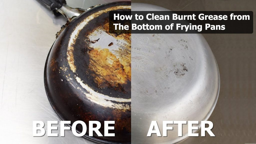 How to clean burnt grease from the bottom of frying pans